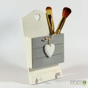 Porta pennelli trucco in legno decorato