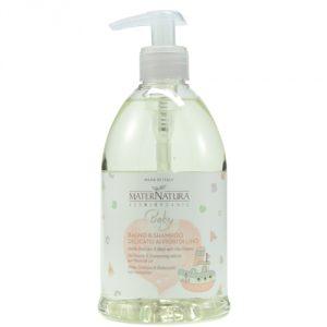 bagno e shampoo delicato ai fiori di lino maternatura
