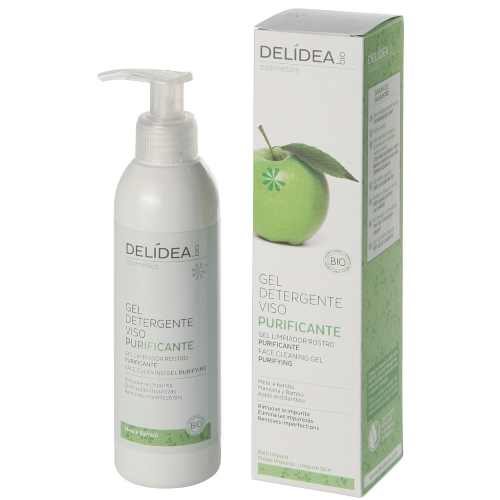 gel detergente viso purificante mela e bambù delidea