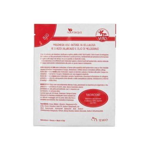 Maschera viso antiage in cellulosa ai 3 Acidi Ialuronici e olio di Melograno